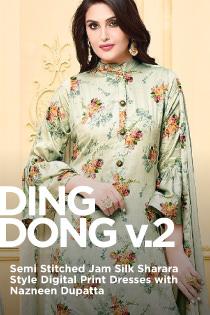 DING DONG v.2 (Semi Stitched Jam Silk Sharara Style Digital Print Dresses  with Nazneen Dupatta)  c5747caf09